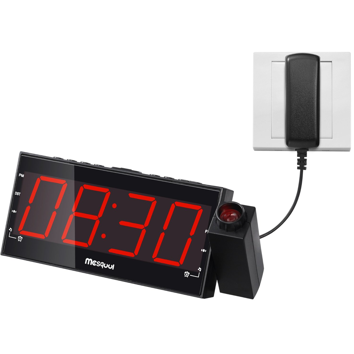Mesqool AM/FM Digital Dimmable Projection Alarm Clock Radio with 1.8