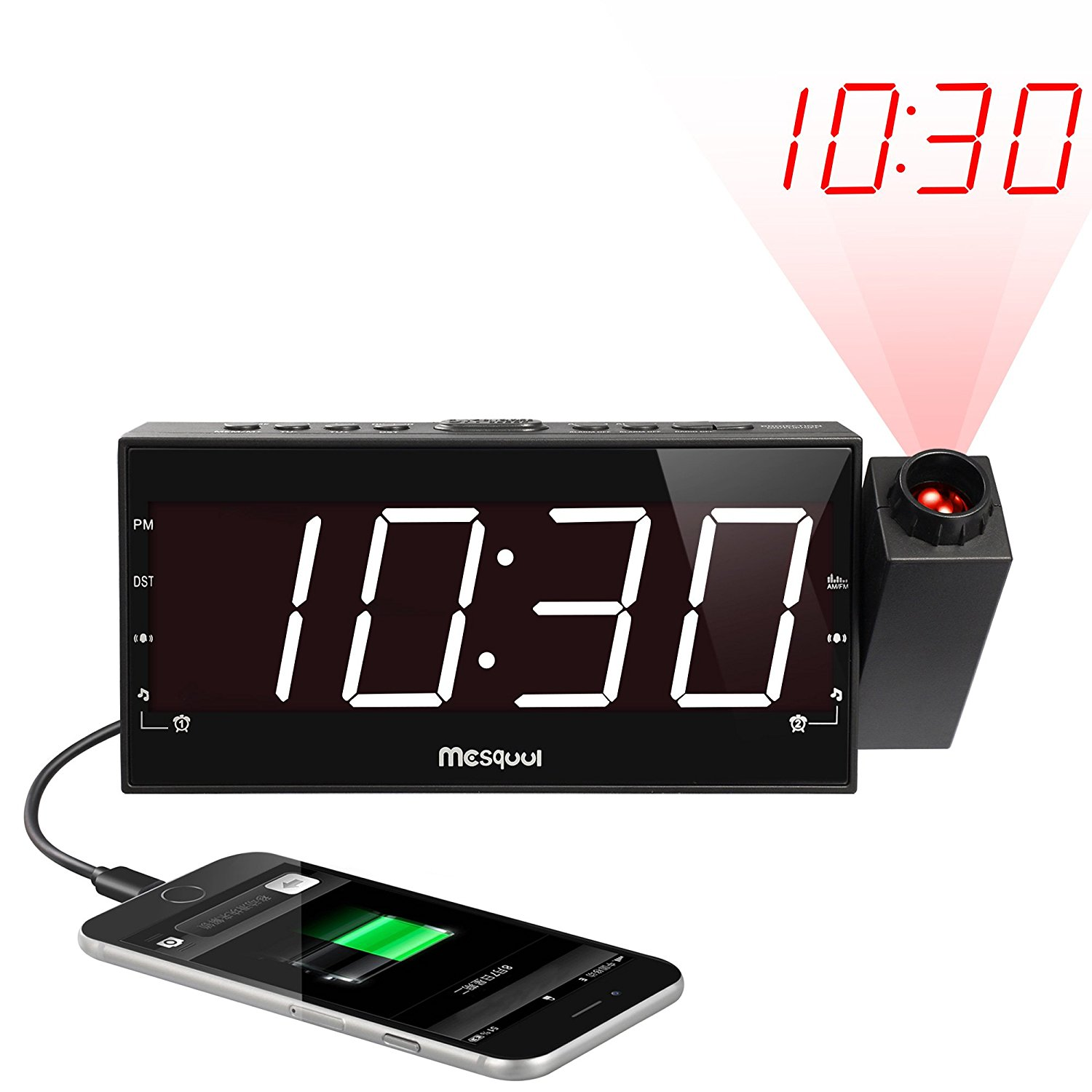 Mesqool AM/FM Digital Dimmable Projection Alarm Clock Radio with 1 8