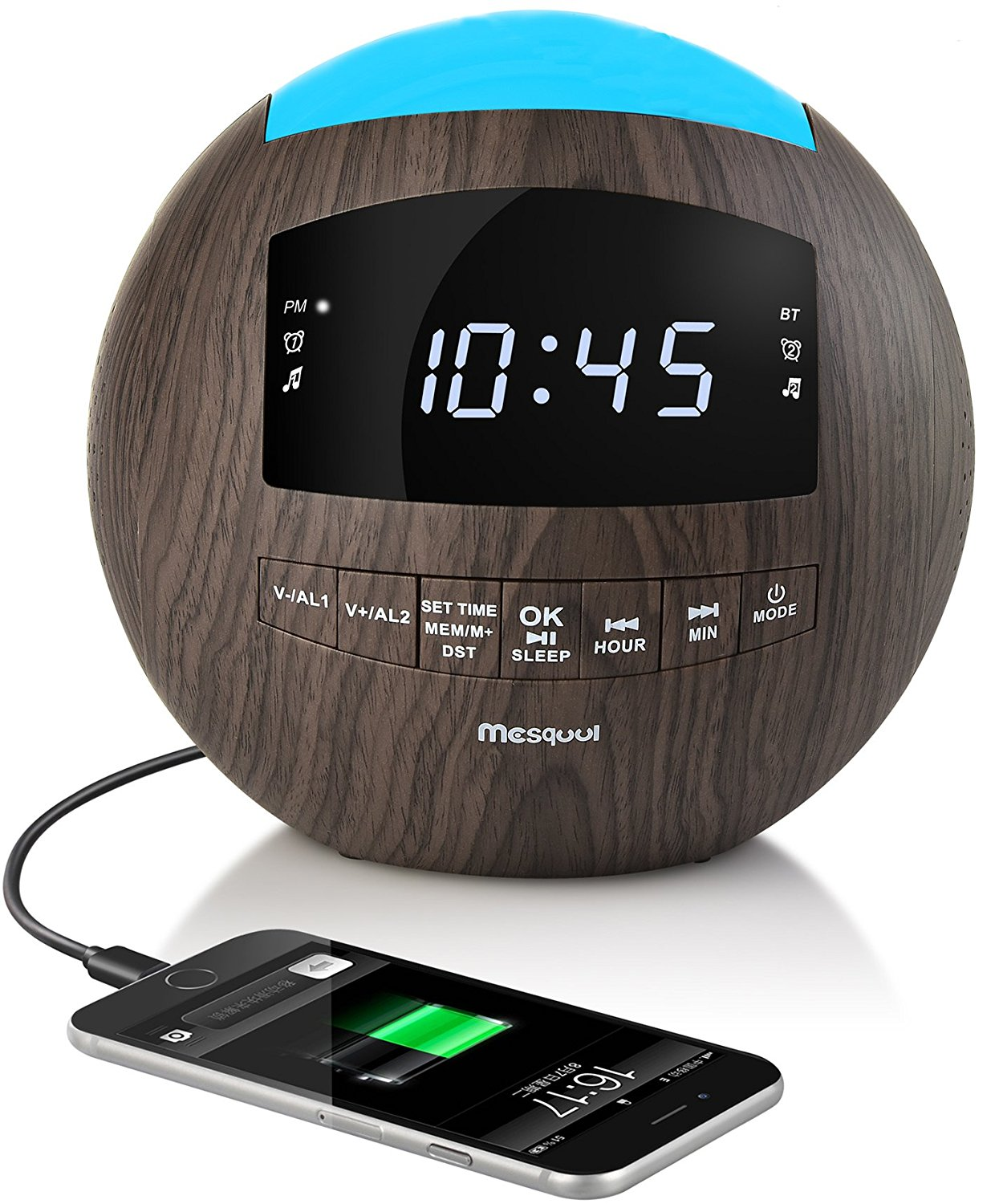 Mesqool Wooden Dimmable Alarm Clock Radio, Bluetooth Speaker, AM/FM Radio, AUX-IN, Dual USB Charging Port, Multi-Color Night Light, Snooze, Sleep Timer
